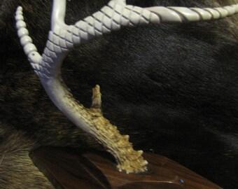 Hand Carved Whitetail Deer Antler Bone Art Wildlife Art
