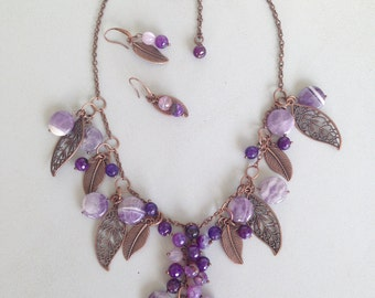 Set of amethyst and agate