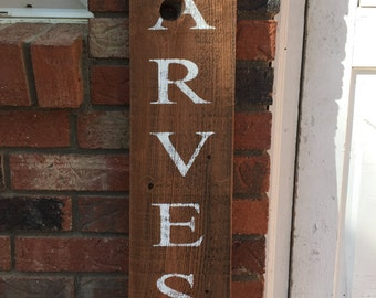 Harvest fence post, fall, rustic, handpainted, Halloween, Thanksgiving, sign