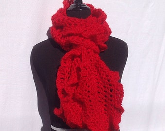 Chunky Ruffle Scarf in Bright Red