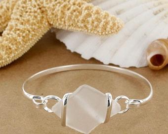 White Sea Glass Bracelet