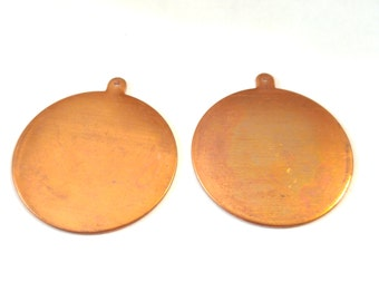 Circle with Loop Copper blanks shapes, stampings, blanks for enamel or jewelry 2 pieces
