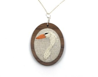 Great Egret Embroidery Necklace Needlework Embroidered Pendant Walnut MDF Setting Nature Bird Jewelry