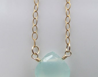 Aqua Blue Chalcedony Gold Necklace -  Blue Pendant Necklace - Luxe AAA Heart Briolette -  Bridal Wedding Gift for Her - Something Blue