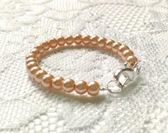 Peach Pearl Baby Bracelet, Peach Bracelet, Baby Bracelet, Pearl Bracelet, Pearl Baby Bracelet, Glass Bead, Infant Bracelet, Toddler Bracelet