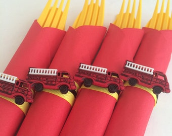 Firetruck Theme Flatware - Disposable Flatware Finished with a Firetruck Charm