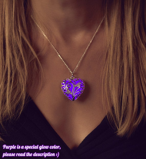 Purple Glowing Heart Necklace Birthday Gift By EpicGlows
