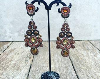 Bronze And Silver Dangle Drop Earrings, Bronze Soutache Metal Earrings, Crystal Drop Earrings, Statement Long Earrings, Chandelier Earrings