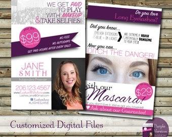 SALE USA Custom Make Up Blitz Card Design   Customer Postcard   Printable   Digital File Add on Prints Option   Direct Sales Marketing