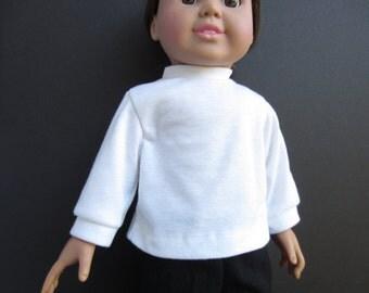 Handmade 18 inch doll clothes, white doll shirt, long sleeved doll shirt,  knit doll shirt, white doll blouse, white doll top, doll shirt