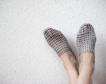 Woman Slippers, Summer Slippers, Light Blue Slippers, Len Slippers, Girlfriend Gift, gift for her, Modern slippers, Crochet slippers