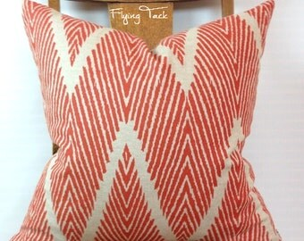 Tangerine Chevron Ikat Pillow cover on Oatmeal Background - Knife Edge finish - Orange