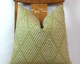 Lime Green Chevron Ikat Pillow cover on Oatmeal Background - Knife Edge finish - Grey - Beige