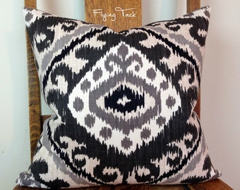 Grey, Black, and Charcoal Ikat Pillow cover - Knife Edge Finish