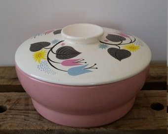 Mid Century Atomic Pink Casserole with Floral Painted Lid Deep Vintage Lidded Serving Bowl Atomic Floral Decor