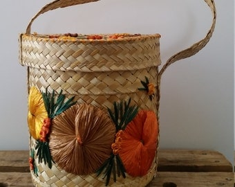 Mexican Basket Folk Art Boho Mexican Carribean Woven Natural Grass & Bark Cloth Purse Mint Condition Storage Tote Storage Basket Yarn Basket