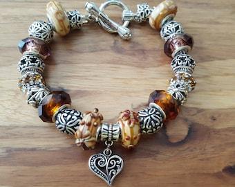 Brown glass bead bracelet