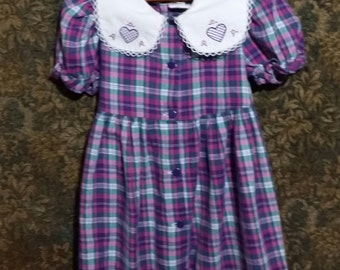 Little girl pink and purple plaid puff sleeve vintage dress.