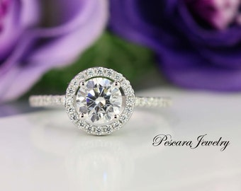 Round Halo Engagement Ring - Halo Ring - Round Cut Ring - Promise Ring - Cubic Zirconia Ring - Sterling Silver - 1 Carat