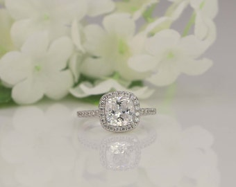 2 Ct Cushion Cut Halo Ring - Halo Engagement Ring - Promise Ring - Wedding Ring - Sterling Silver