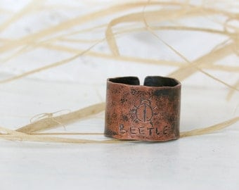 Hand Forged Copper  Ring - Unisex ring -  Copper Ring - Rustic Texture Ring - Wide Copper Ring - Patina Jewelry - 10.5 Size RIng