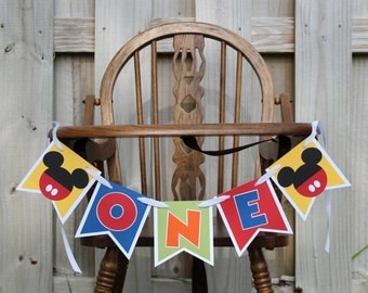 Mickey Mouse Highchair Banner Mickey Cake Smash Banner Mickey ONE Banner Mickey Clubhouse Banner Mickey High Chair Banner Mickey Decorations