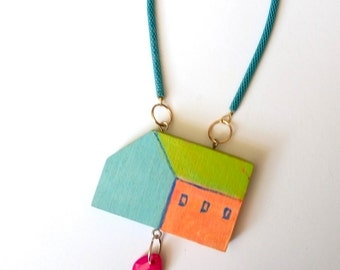House shape , painted wood necklace , long pendant necklace , wearable art necklace , illustrated jewelry