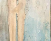 Fine Art, Rustic Painting of Couple, Textured Painting, Modern Art, Contemporary Art, Acrylic Painting, Decorative Art