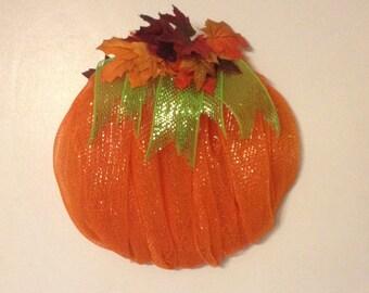 SALE: Orange Deco Mesh Pumpkin Wreath