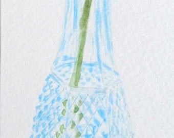 Rose in Vase,  3x9, Original Watercolor Painting