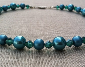 Teal Pearl and Crystal Choker Necklace