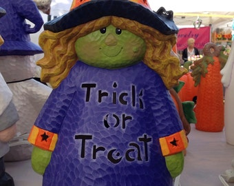 Trick or Treat Witch--Halloween Decor--Halloween Lamp