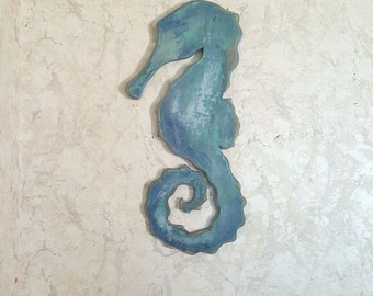 Wood seahorse decor, beach house sign, reclaimed wood, wall hangings, nautical decor, coastal decor, ocean decor, nautical decor