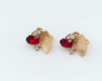 Vintage Art Deco Ruby Earrings - Van Dell Ruby Glass Crystal Rhinestone Earrings - 12k Gold Fill Earrings - 1930s 1940s Gold Ruby Earrings