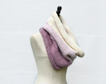 Large Knit Cowl Scarf, Ombre Knit Cowl, Chunky Oversized Scarf Cowl, Pink Winter Gift for Her, Gigantic Cowl Scarf Knitted, Chunky Cowl Knit