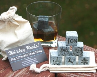 Cool Christmas Stocking Stuffer, 6 Engraved Whiskey Stones, Personalized Rocks, Unique Xmas present for Whisky Lovers, made in the USA