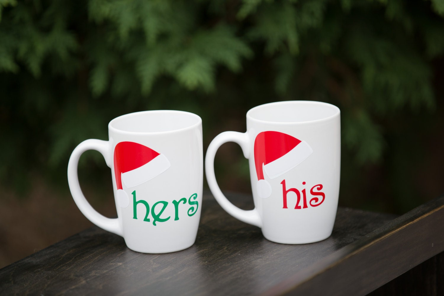 his and hers ceramic coffee mugs 2 with santa hats by. Black Bedroom Furniture Sets. Home Design Ideas