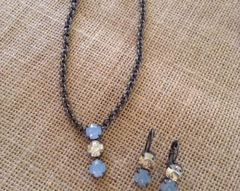 Blue Opal and Gold Necklace and Earrings set