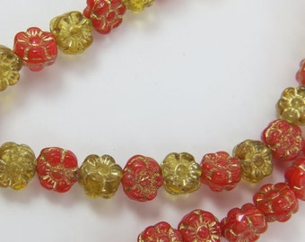 Red Yellow Small Flowers Czech Glass 7mm Opaque Translucent Golden Glaze 6 Petal Pressed One Strand 40 Beads PRE7FL002