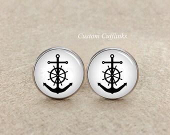anchor Cufflinks, Cuff Links, Groom Groomsmen Cufflinks, Sailor anchor Cufflinks,Vintage style acrylic cuff links Nautical Cufflinks For Men