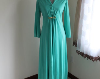 60s Palazzo Set by Nancy G, Maxi Duster Green Bell Bottoms Pants Suit, 60s Evening Wear, Size Small
