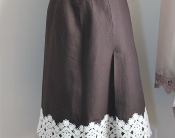 80s Brown Linen Skirt with Lace Trim by Ann Taylor Size 4 Casual Linen