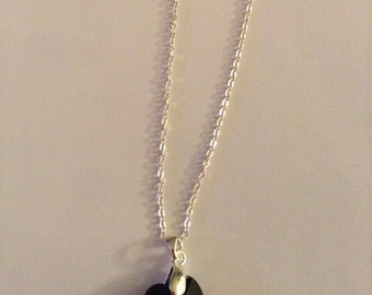 Large Silver And Black Swarovski Crystal Heart Necklace