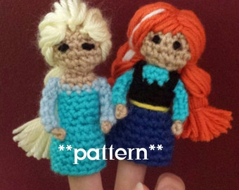 Frozen Crochet Finger Puppet Patterns, Anna and Elsa Finger Puppets, Anna and Elsa Crochet