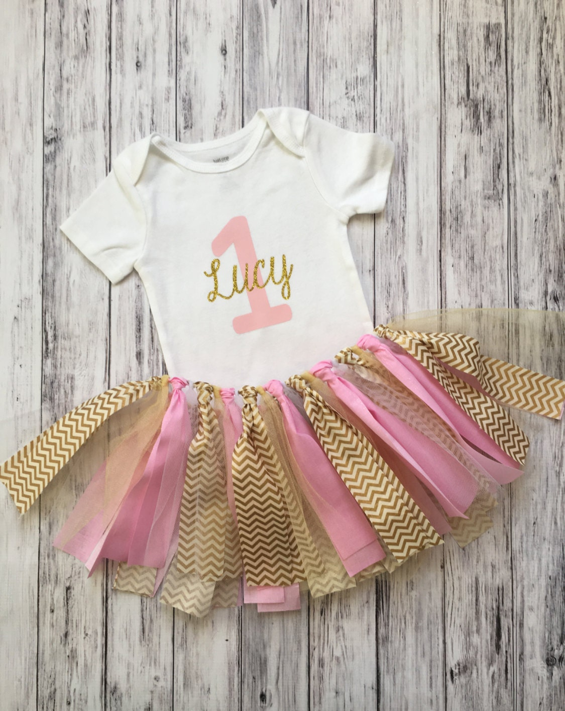 Pink and gold birthday outfit shabby chic first birthday - Shabby chic outfit ideas ...