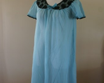 Blue Sheer 1950's Vintage Sheer Baby Doll Nightie/Negligee with Black Lace Trim by Perlon Size M-L - BT-464