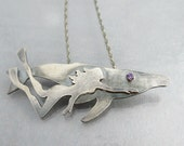 Sterling Silver Animal Necklace, Whale Pendant, Beauty and the Beast, Birthstone Necklace, Diver Jewelry, Ocean Necklace, Made to Order