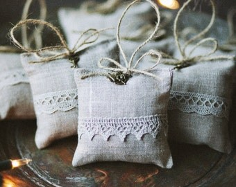SALE 25% OFF / Linen lavender bag with angel and lace/ Light Grey lavender bag / Christmas gift / Lavender bag / Christmas gift /