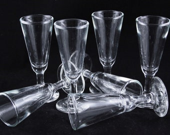 Stemmed Clear Glass Shot Glasses - Set of Seven