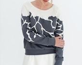 Grey shirt, white and grey, designer shirt, patchwork shirt, designer clothing, neoprene, crewneck sweatshirt, gray sweayshirt, women shirts